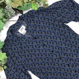 Flax Blue Floral Print Button Up Shirt S